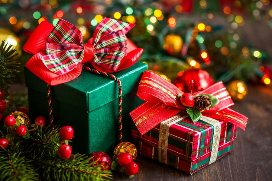 Christmas gift boxes with decorations